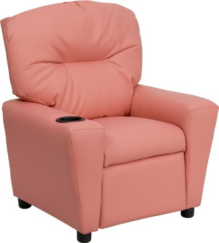 Flash Furniture BT-7950-KID-PINK-GG Contemporary Pink Vinyl Kids Recliner with Cup Holder by Flash Furniture