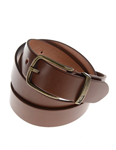 (JPB059) Mens Casual Square Bronze Metal Buckle Leather Belt From W26 to W36 BROWN