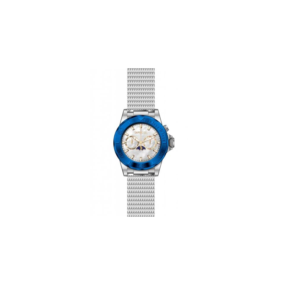 Invicta 80321 Mens Sea Wizard Stainless Steel Case and Mesh Bracelet Silver Tone Dial Blue Tone Bezel Watch