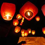 HuaYang Outdoor Flying Paper Lanterns Sky Lantern Luck Wish Balloon(5Pcs: Red)
