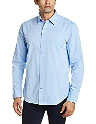 Proline Men's Casual Shirt (8907007299111_PV10601_Small_Mid Blue)