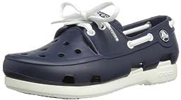 crocs 14405 Beach Boat Shoe (Toddler/Little Kid),Navy/White,5 M US Toddler