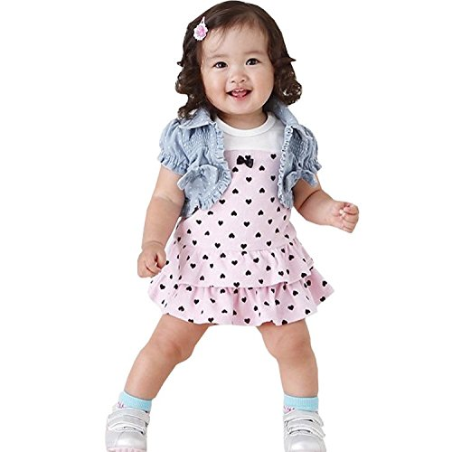 Waboats Bambina Pois Arco Mini Abito Denim Sets Giacca Corta 9 Mesi As Picture