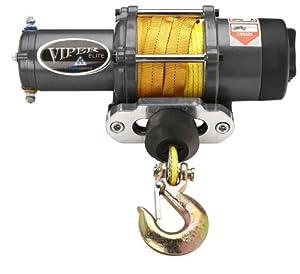 Viper Elite 5000lb UTV SxS Wide Spool Winch & Custom Mount Yamaha Rhino with YELLOW AmSteel®-Blue synthetic rope