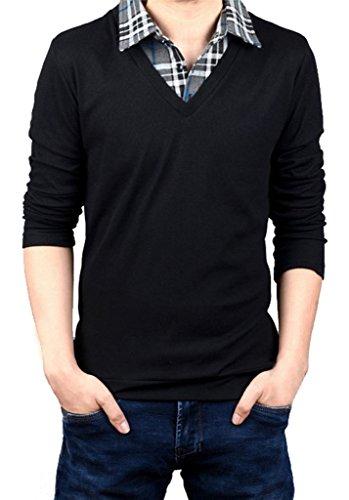 Falso in due pezzi camicia collare maglione del pullover da uomo Gillbro, nero, 5XL