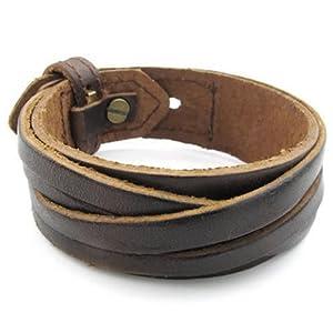 Amazon.com: KONOV Mens Leather Bracelet, Wrap Cuff Bangle, Fit 7-8