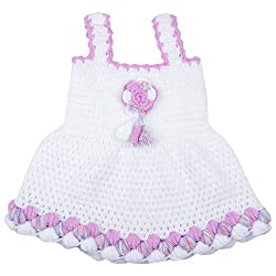 Kuchipoo Hand Knitted Crochet Woolen Baby Girl Frock (KUC-FRK-102, Purple & White,1 year to 2 Years)