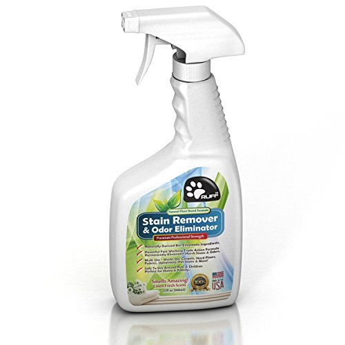 RUFF Natural Plant Based Pet Stain Remover & Odor Eliminator for Carpet & Hard Floors | Fresh Smell, Nontoxic & Safe around Pets & Kids | Pro Enzymatic Cleaner for Dog & Cat Urine | 32 Oz + Free EBook (Enzymatic Cleaner For Wood Floors compare prices)
