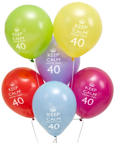 "Neviti 597727 - Globos ""Keep Calm"" 40 cumpleaños, paquete de 8"