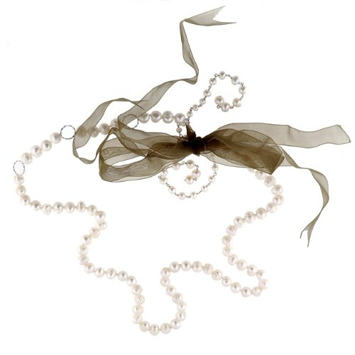 DaVonna Sterling Silver Pearl and Ribbon Necklace (3.5-8 mm)