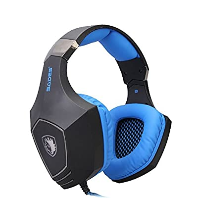 AFUNTA SADES A60 Game Headphone Vibration Function and 7.1 Surround Sound Professional Gaming Headphone Game Headset (Blue)