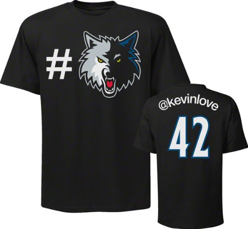 Majestic Kevin Love Minnesota Timberwolves Nba Twitter Name & Number T-shirt, Large Black