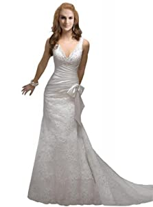 George Bride Sexy Deep V Neck Lace Over Satin Court Train Wedding Dress