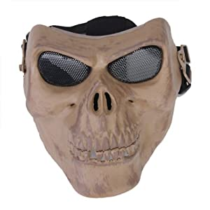 Airsoft Skeleton Ghost Skull Full Face Protector Mask / Paintball, Game or Scenario Mask--Foam Padded inside for Comfortable Wearing, Metal Mesh Goggle Will Never Fog up in the Game by SuntekStore Online