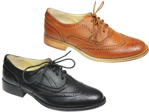 NEW WOMENS/LADIES FLAT BROGUE SMART OFFICE CASUAL FORMAL LACE UP SHOES SIZES 3-8