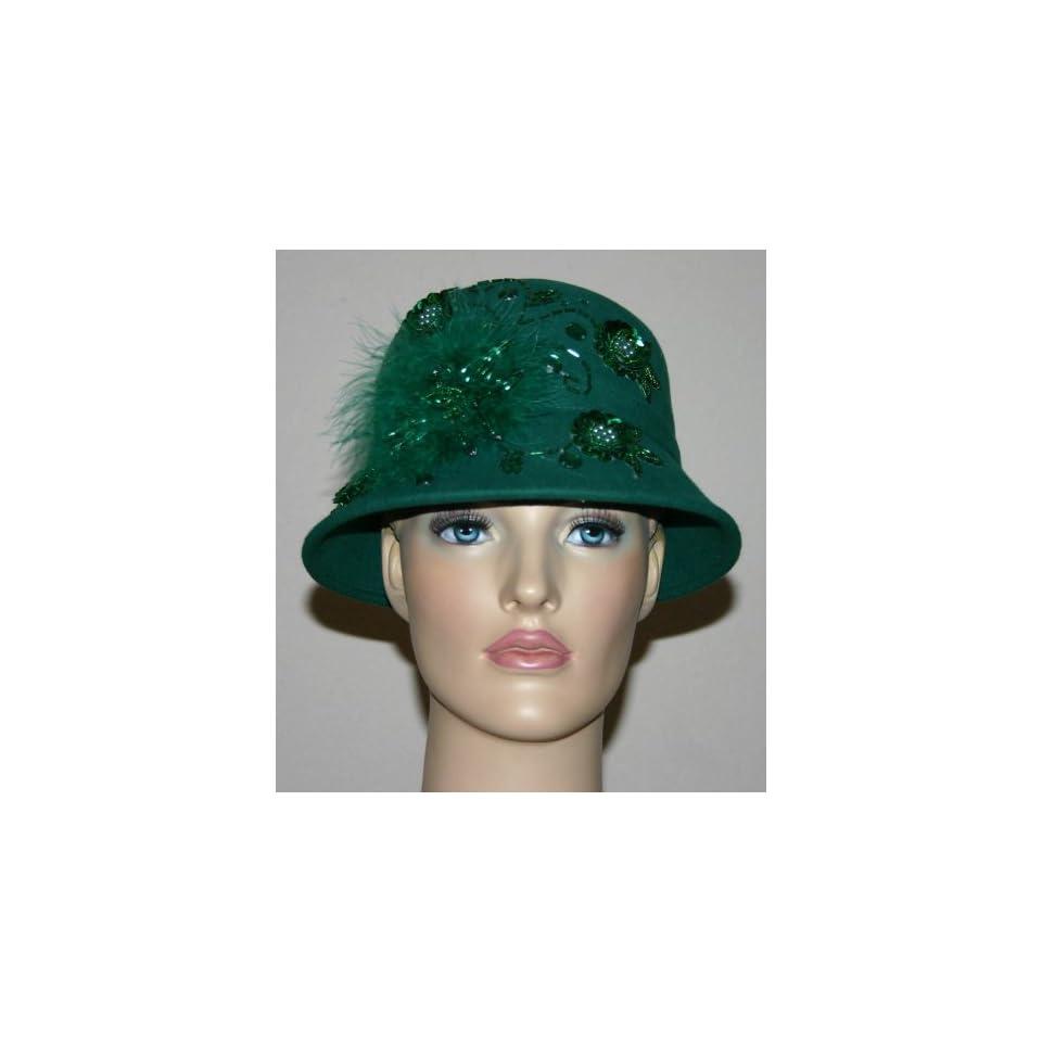 Flapper Hat Edwardian Hat Church Hat Mademoiselle Sophia Emerald on ... 411355d95a3