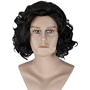 Angelaicos Mens Curly Fluffy Cool Nautral Looking Party Halloween Cosplay Costume Wigs Short Black