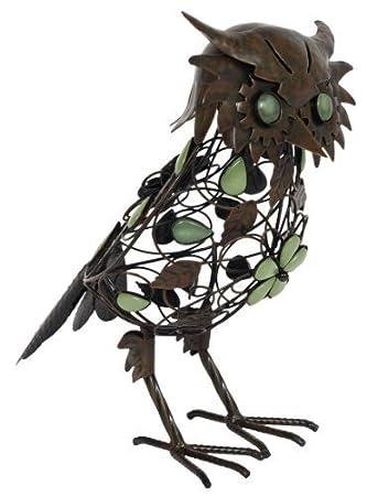 La Hacienda 55370US Steel Owl Figure, 11.02 by 6.50 by 13.78-Inch, Brown by Jensen Distributing - Lawn & Garden