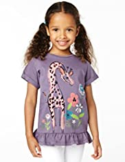Pure Cotton Giraffe Print T-Shirt
