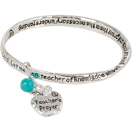Teacher Prayer Silver Tone Bangle Bracelet with Dangling Apple Charm
