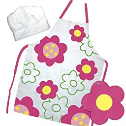 The Little Cook / Child\'s 3-piece Flower Power Apron Set