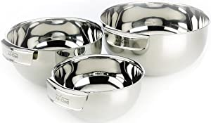 All-Clad MBSET Stainless Steel Dishwasher Safe Mixing Bowls Set Kitchen Accessorie, 3-Piece, Silver