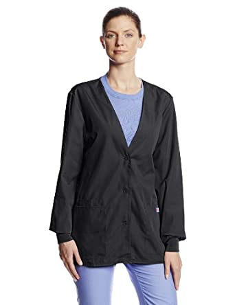 Cherokee Women's Workwear Scrubs Cardigan Warm-Up Jacket, Black, X-Small