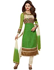 IndiWeaves Women's Net Semi Stitched Salwar Suit (10003D-IW-2-OBS, Green, Free Size)