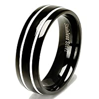 Black Stainless Steel Double White Stripe Inlay Wedding Band Ring 7mm