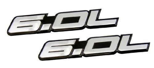 2 x (pair/Set) 6.0L Liter in SILVER on BLACK Highly Polished Aluminum Car Truck Engine Swap Nameplate Badge Logo Emblem for GMC Yukon Sierra Pick Up Truck Hummer H2 SUT V8 LQ4 Fits other Vehicles (Hummer H2 Truck compare prices)