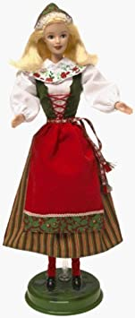 Barbie Year 1999 Collector Edition Dolls of the World 20th Anniversary 12 Inch Doll - Swedish Barbie in One Piece Dress with Attached Apron and Vest Plus Shawl, Hat, Knee Socks, Shoes and Doll Stand by Mattel