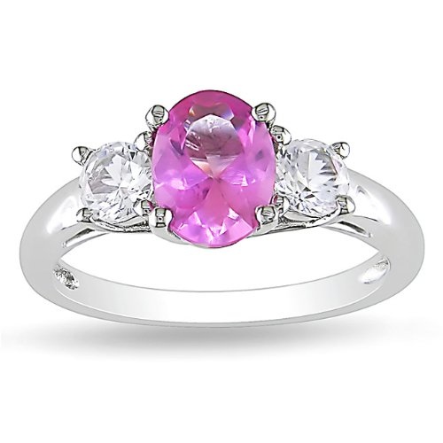 Sterling Silver 2 5/8 CT TGW Created Pink Sapphire and Created White Sapphire Fashion Ring