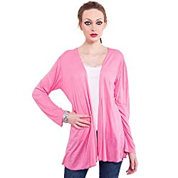 TUNTUK Women's Just Shrug Pink Viscose Shrug
