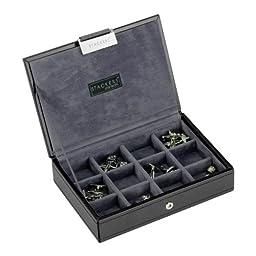 Stackers | Mens Accessories | mini black & grey velvet cufflink stacker lid