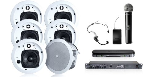 Wireless Conference Room Sound System 6 Ceiling Speakers, Mixer Amps, Dual Mic Wireless System