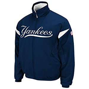 MLB New York Yankees Thermabase Full Zip Premier Home Jacket Midnight Navy White by Majestic