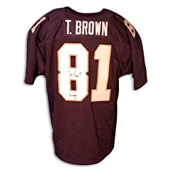 Tim Brown Blue Notre Dame Autographed Hand Signed Jersey