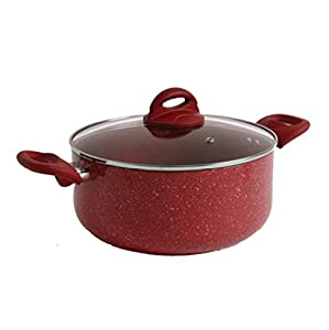 Gibson Home 104435.02 Summerhaven Aluminum Whitford Non Stick Dutch Oven with Lid, 5 quart, Red