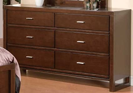 Drawer Dresser Contemporary Style in Warm Brown Finish