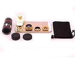 Evana Universal 3 in 1 Cell Phone Camera Lens Kit - Fish Eye Lens / 2 in 1 Macro Lens & Wide Angle Lens (Golden)
