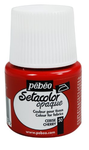 Pebeo Setacolor Opaque Fabric Paint 45-Milliliter Bottle, Cherry front-601993