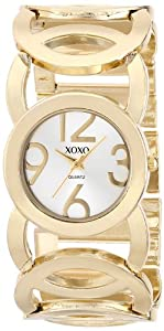 XOXO Women's XO5211 Silver Dial Gold-tone Open Link Bracelet Watch