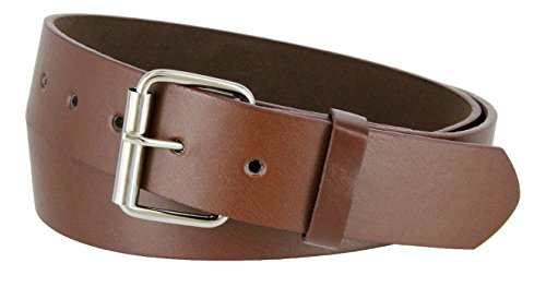 B570 Mens Genuine Leather Belt With Silver Roller Buckle- *VARIOUS COLORS*(BRN,XL)