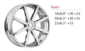 Akuza Zenith 22 Chrome Wheel / Rim 5×115 & 5×120 with a 35mm Offset and a 74.1 Hub Bore. Partnumber 843085055+35C