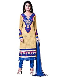 Lookslady Faux Georgette Beige Women Clothing Semi Stitched Salwar Kameez Suit