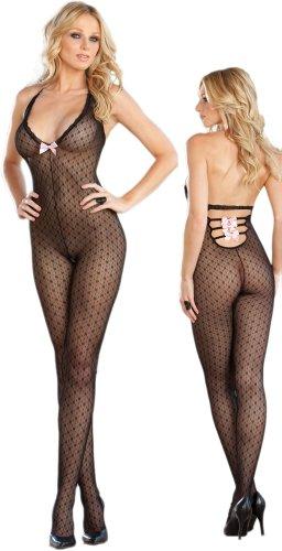 Sexy Sheer Black Halter Body Stocking – One Size