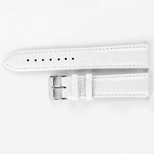 AMPM24 New White Patent Leather Watch Strap Band Silver Buckle 20mm Watchbands WB2038