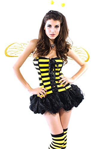 Soyagift Women's Sexy Lingerie bubble Mini Skirt Bee Costume Suit