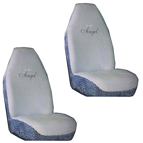 Beautiful Angel Script with Heavenly Angel Wings on Baby Blue with Cheetah Print Car Truck SUV Universal-fit Soft Plush Like Bucket Seat Covers - PAIR (Baby Car Cheetah Seat Covers compare prices)