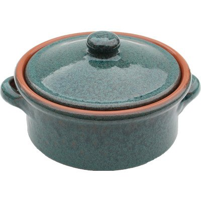 Amazing Cookware 2 Litre Terracotta Casserole Dish, Peacock Green from Amazing Cookware